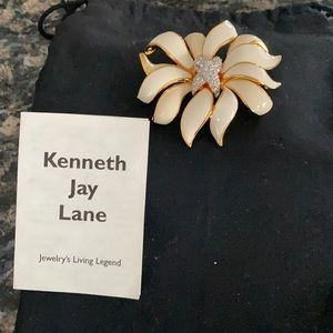 KENNETH JAY LANE ENAMEL RHINESTONE CROSSOVER PIN